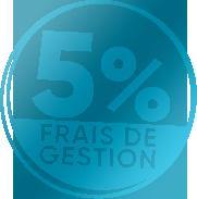 """Logo """"5% de frais de gestion"""" Prium Transition"""