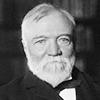 Photo portrait en noir et blanc de Andrew Carnegie, industriel et philanthrope.