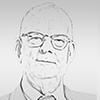 Portrait dessiné en noir et blanc de William Edwards Deming, auteur et statisticien.