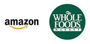 Les logos des deux sociétés Amazon et Whole Foods Market