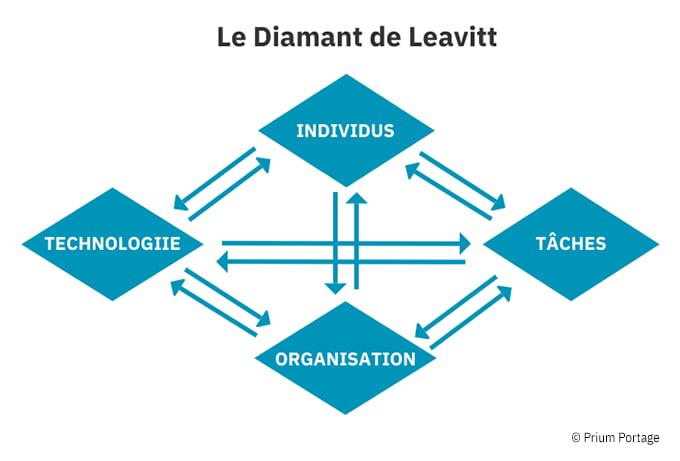 Sur fond blanc, les 4 composantes intrinsèques : individus, tâches, organisation et technologie.
