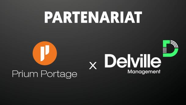 Sur fond gris-noir, présentation du partenariat entre Prium Portage et Delville Management.